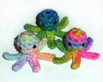 3 Tiny Squidlet Crochet Plushies - choose your colors