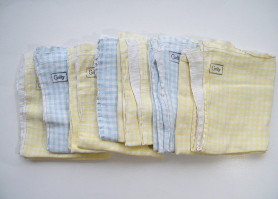 vintage 1950s baby cloth diapers set of 7 yellow and blue