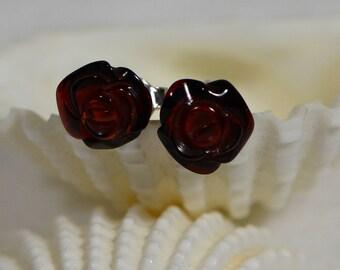 Dark Honey Brown Amber Earrings Post Earrings