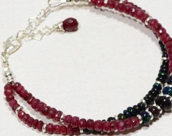 Opal Bracelet Beaded Bracelet Black Opal Bracelet Ruby And Black Welo Ethiopian Opal Sterling silver Beaded Bracelet