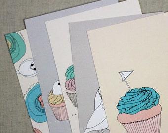 Cupcake and Bird Postcards Set of Five