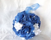 Blue rose and creme hydrangea kissing ball rose pomander wedding flower ball