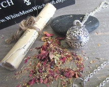 Wiccan jewelry love spell pendant amulet prayer box necklace locket secret compartment pagan wicca metaphysics new age medieval herbs