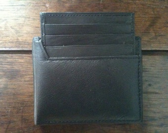 Vintage English leather black leather wallet purse circa 1980's / English Shop