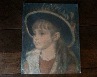 Vintage French Renoir print Portrait of a Young Girl in a Blue Hat 1881 glued on pressed wood circa 1960's / English Shop