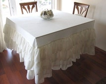 Wedding tablecloth Waterfall ruffled tablecloth Ivory cream or off white poly linen shabby chic country party event table rectangle round
