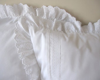 Solid white ruffle pillow cover, cotton euro sham ruffled eyelet lace trimmed - 26 x 26 inch  - bedroom decoration Nurdanceyiz