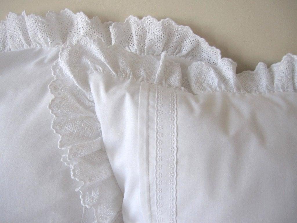 Solid White Ruffle Pillow Cover Cotton Euro Sham Ruffled