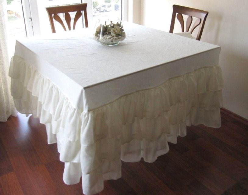 Wedding tablecloth Waterfall ruffled tablecloth Ivory cream or Ruffled Tablecloth