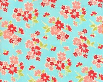"""LAST PIECE 5.5"""" of Miss Kate Spring Aqua Floral by Bonnie & Camille for Moda"""