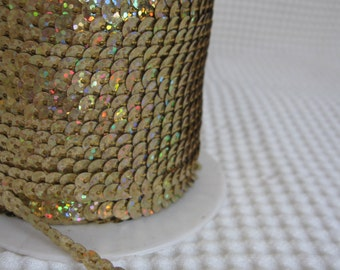 5 Yards Shimmering Light Gold Sequin Trim - 43