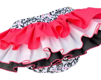 Hot Pink and Black Damask Ruffle Diaper Cover Ruffle Bloomer Panty Pants