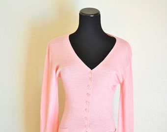 Wool Jacket, Peach Color, Vintage Woman Fashion, Knit Sweater, HALF OFF S A L E