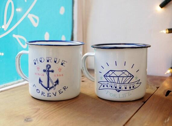 Duo Mugs Émaillés / Morue Forever & Poulette for Life