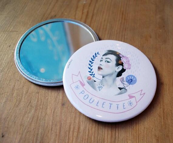 Miroir de poche 7,5 cm / Poulette