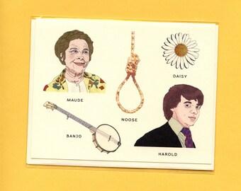 HAROLD AND MAUDE Field Guide - Original Illustrations - Bud Cort, Ruth Gordon, Noose, Daisy, and Banjo