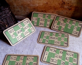 Vintage French set of 6 loto cards