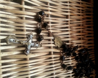 Antique jet French Rosary