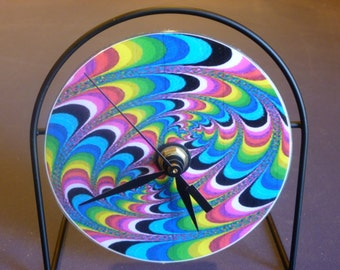 Crazy Colors  Recycled CD Clock Art