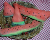 Primitive, Watermelon, Slices, Chunks, Bowl Fillers, Tucks, Handmade, Hand Painted, Primitive, Whimsical, SCOFG
