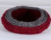 Fiber Art Bowl - (wool art)  Crocheted cranberry and grey wool yarn bowl.