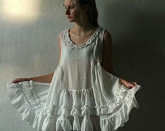 White see trough summer tunic shirt with ruffles