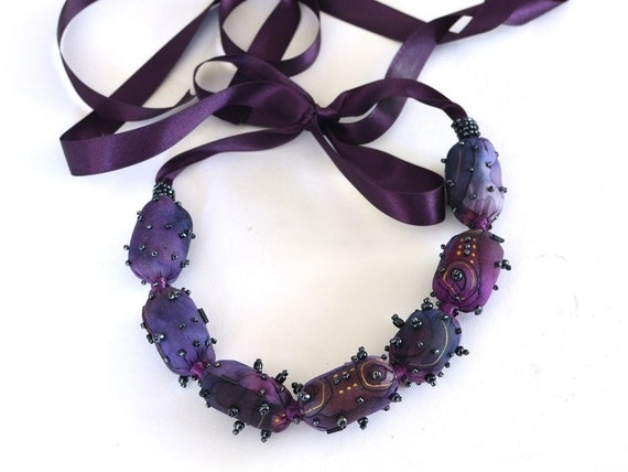 Bubble necklace purple, silk necklace purple hand painted - Textile jewelry OOAK ready to ship