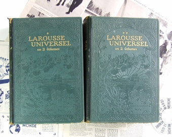 French DictionarIES set LARGE Laroussse 1922 Antique Vintage