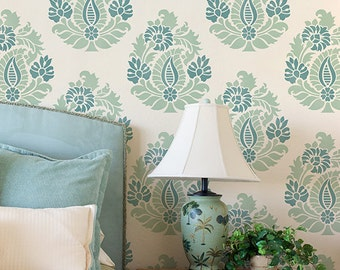 Indian Paisley Damask Wall Stencil for Allover Wallpaper Look - Painted Paisleyes Wall Art