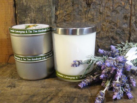 Lavender Lemongrass & Tea Tree Handmade Soy Wax Candles (Essential Oils) - Flat Rate Shipping Available!