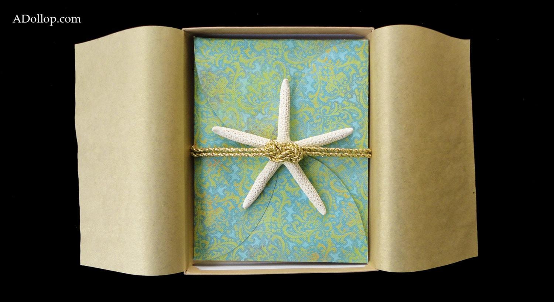 One Page Wedding Invitations: Elegant Boxed Starfish Beach Themed Wedding Invitations
