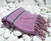 Turkishtowel-Hand woven,20/2 cotton warp and weft Rainbow,Diamond Turkish Bath,Beach Towel-Lilac and black weft