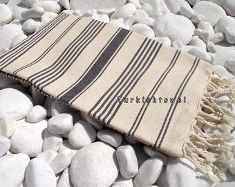 Turkishtowel-Hand woven,20/2 cotton warp and weft Turkish Bath,Beach Towel-Black stripes on Natural cream
