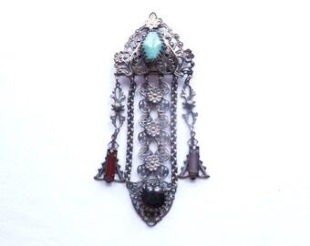 Antique Filigree Chatelaine Brooch