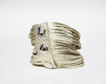 Ultra Soft 34 Leather Strands Bracelet(Gold)
