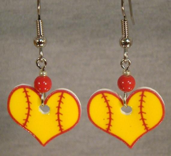 softball dangle earrings drop earrings by afanaffair