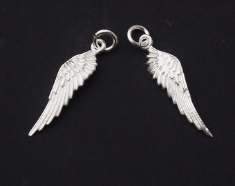 2 of 925 Sterling Silver Angel Wing Charms 6x22mm. :th1728