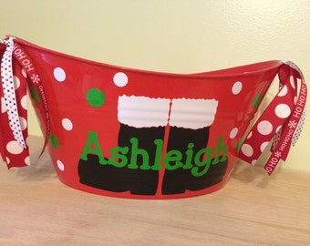 Personalized oval tub - Christmas Gift basket, Santa's boots, name, initial or monogram, great teacher bucket, Hostess gift, secret santa