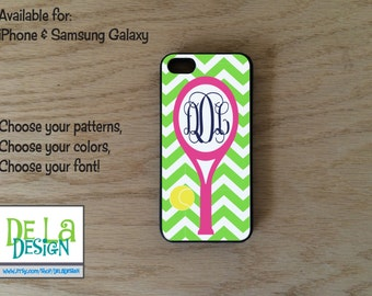 Tennis Personalized cell phone case iPhone  or Samsung Galaxy, white or black rubber case, name or monogram, choose colors