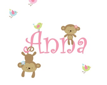 Nursery Wall Decals Name Decal with Monkeys,Birds-Children's Vinyl Wall Decals