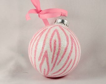 Hand Painted Ornament, Pink Glittered Zebra  Print