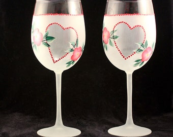 Hand Painted Wine Glasses, Frosted Pink Flowered Heart