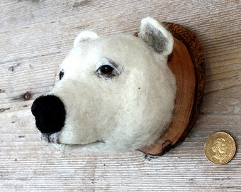 needlefelted miniature  polar bearhead style faux taxidermy by feltfactory