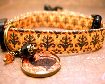 Halloween Cat Collar - Safety Cat Collar - Pet Charm - Antique Brass