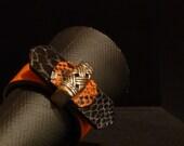 ITALIANATE Bracelet Orange Black Snake Print Leather Architectural Series