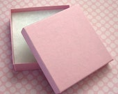 10 High Quality Matte Pink Jewelry Boxes Cotton Filled 3.5 x 3.5 x 7/8 inch - Large