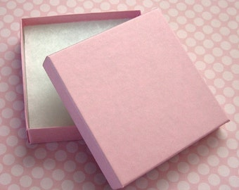 Matte Pink Jewelry Boxes Cotton Filled High Quality 3.5 x 3.5 x 7/8 inch - 10 Large