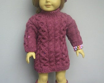 American Girl Doll Dress, Hat and Leg Warmers .