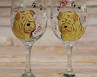 Shar pei  painted wine glasses custom with your breed