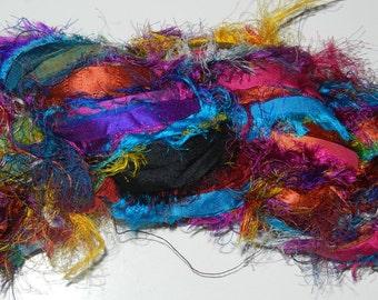100g Recycled Sari Silk Ribbon Yarn, 65 yards,  free shipping 3.5 oz  Multi  shine